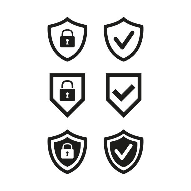Shield with security and check mark icon on white background. Shield with security and check mark icon on white background. Vector illustration shield stock illustrations