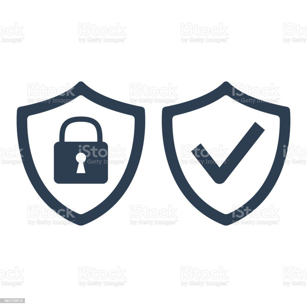 Shield with security and check mark icon on white background. - Royalty-free Aplicação móvel arte vetorial