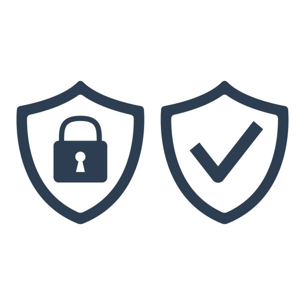 Shield with security and check mark icon on white background. Shield with security and check mark icon on white background. Vector Illustration protection stock illustrations