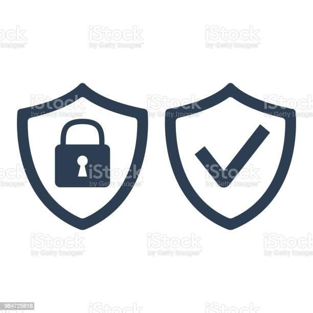 Shield With Security And Check Mark Icon On White Background - Arte vetorial de stock e mais imagens de Aplicação móvel
