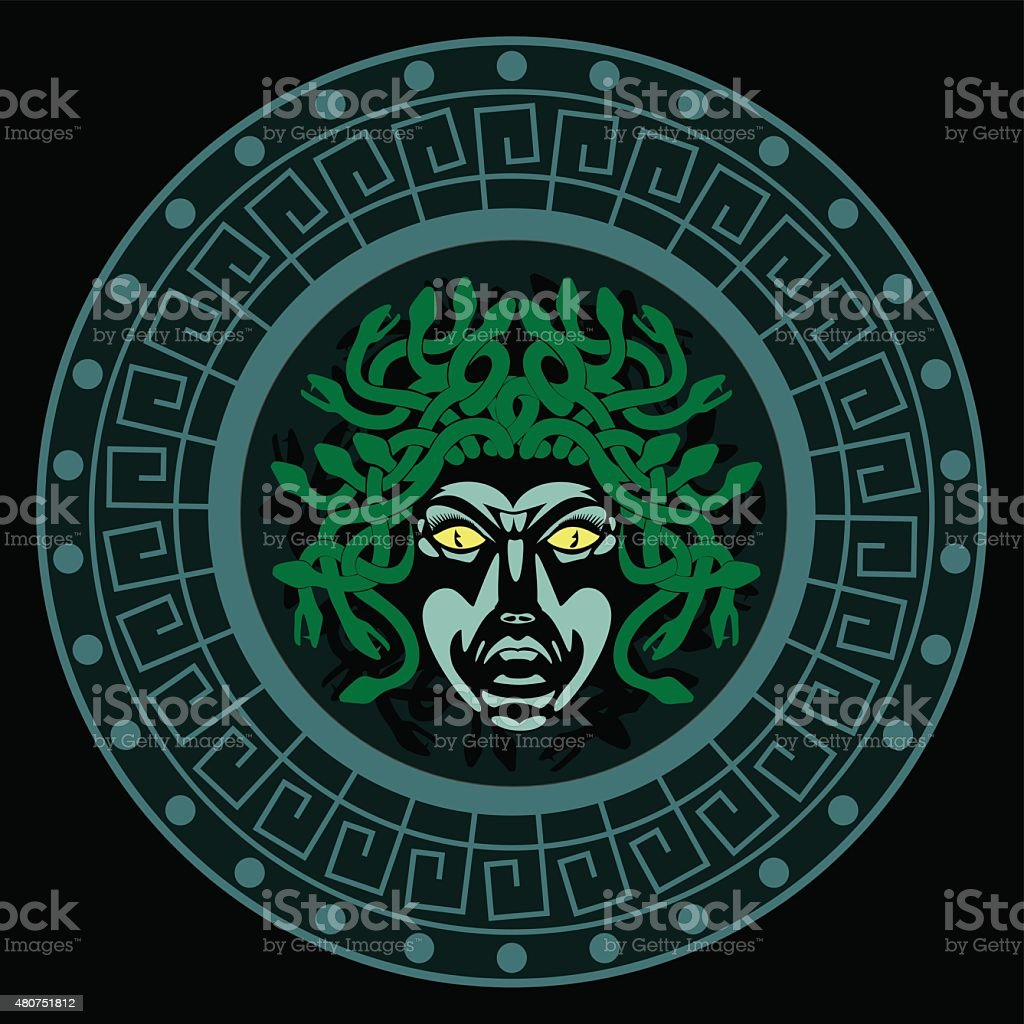 shield with the head of Medusa vector art illustration