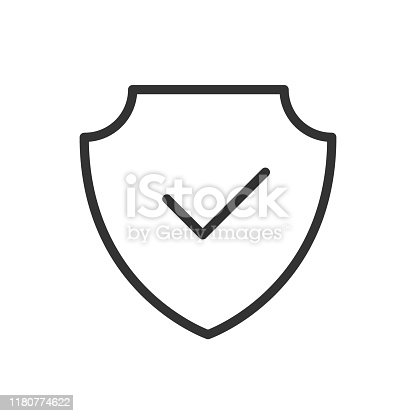 shield with tick outline ui web icon. shield with chek mark vector icon for web, mobile and user interface design isolated on white background
