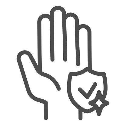Shield with tidy hand line icon. Keep hands clean symbol, outline style pictogram on white background. Wash hands for covid-19 prevention sign mobile and web design. Vector graphics.
