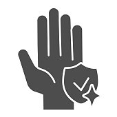 Shield with tidy hand solid icon. Keep hands clean symbol, glyph style pictogram on white background. Wash hands for covid-19 prevention sign mobile and web design. Vector graphics.