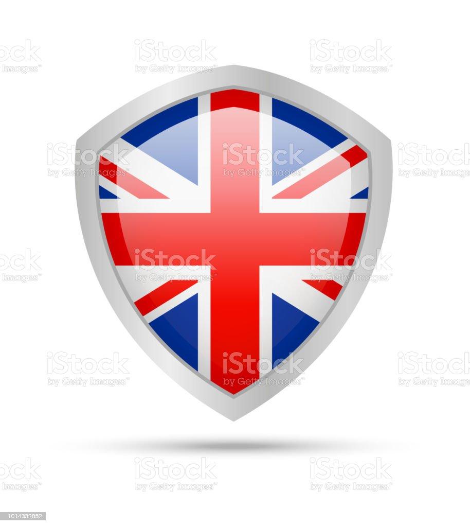 Shield with United Kingdom flag on white background. vector art illustration