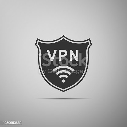 Shield with VPN and WiFi wireless internet network symbol icon isolated on grey background. VPN protect safety concept. Virtual private network for security. Flat design. Vector Illustration