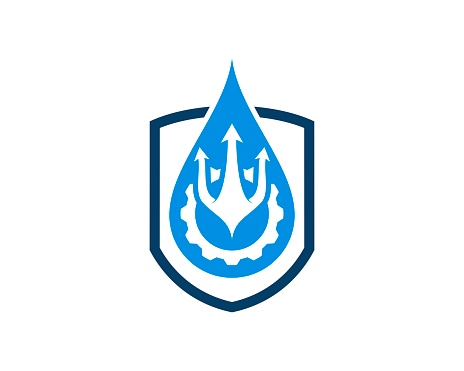 Shield with water drop and trident gear