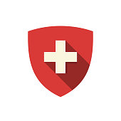 istock Shield with white cross vector icon 1201587352