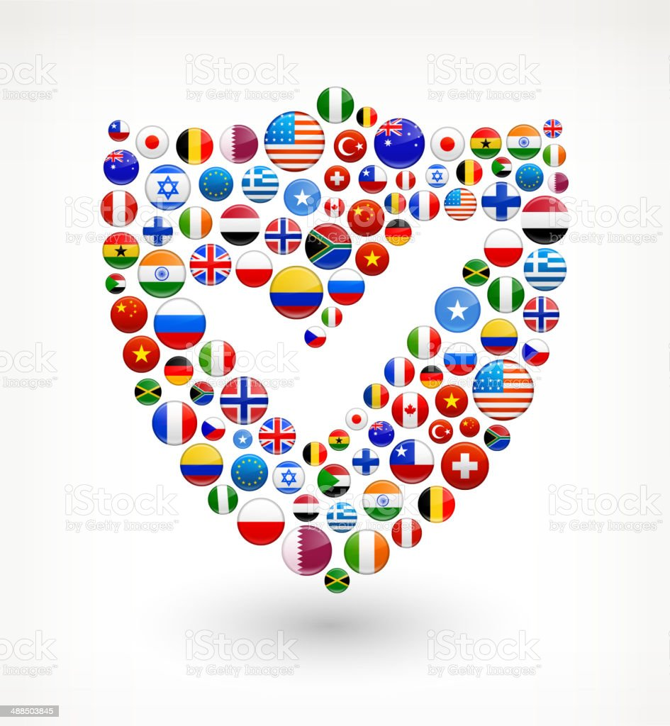 Shield World Flags royalty free graphic royalty-free stock vector art