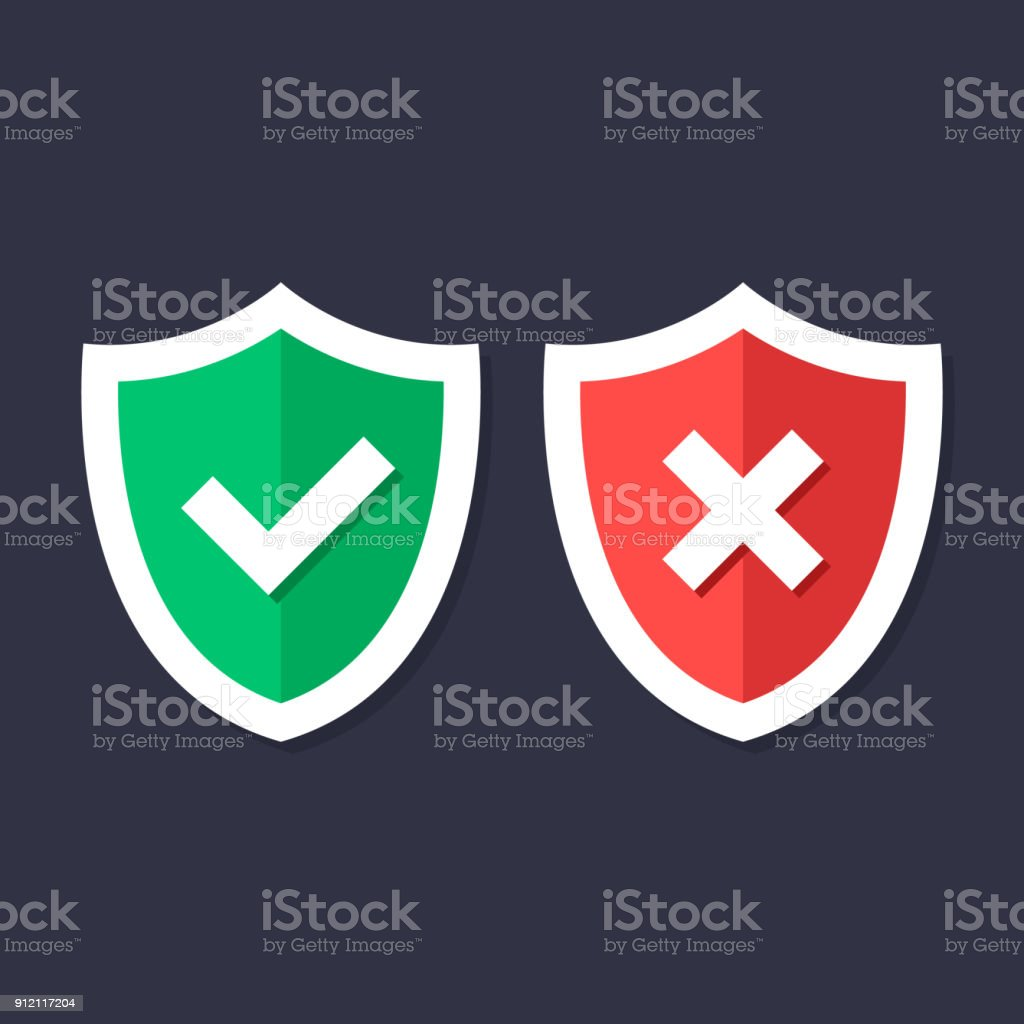 Shields and check marks icons set. Red and green shield with checkmark and x mark, cross mark. Protection, safety, security, reliability concepts. Modern flat design graphic elements. Vector icons vector art illustration