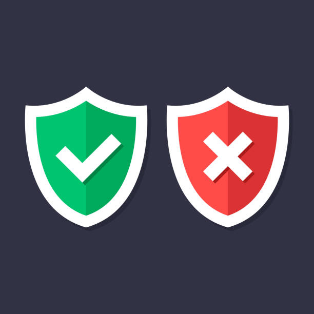 shields and check marks icons set. red and green shield with checkmark and x mark, cross mark. protection, safety, security, reliability concepts. modern flat design graphic elements. vector icons - trust stock illustrations