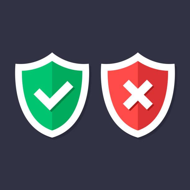 방패와 확인 표시 아이콘을 설정합니다. 빨간색과 녹색 방패 마크 십자가 마크 x 체크 표시와. 보호, 안전, 보안, 신뢰성 개념입니다. 현대 평면 디자인 그래픽 요소입니다. 벡터 아이콘 - trust stock illustrations