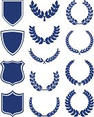 Set of shields, banners and laurel wreaths.