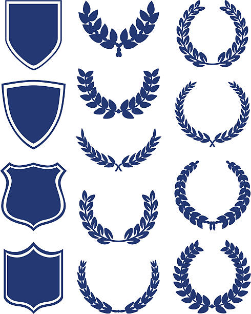 Shields And Laurel Wreaths Set of shields, banners and laurel wreaths. bay tree stock illustrations
