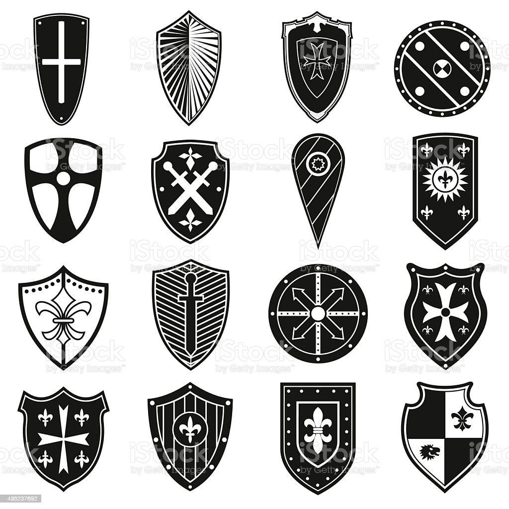 Shields icons set vector art illustration