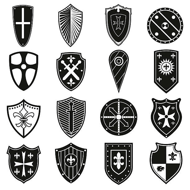 shields icons set - renaissance style stock illustrations, clip art, cartoons, & icons