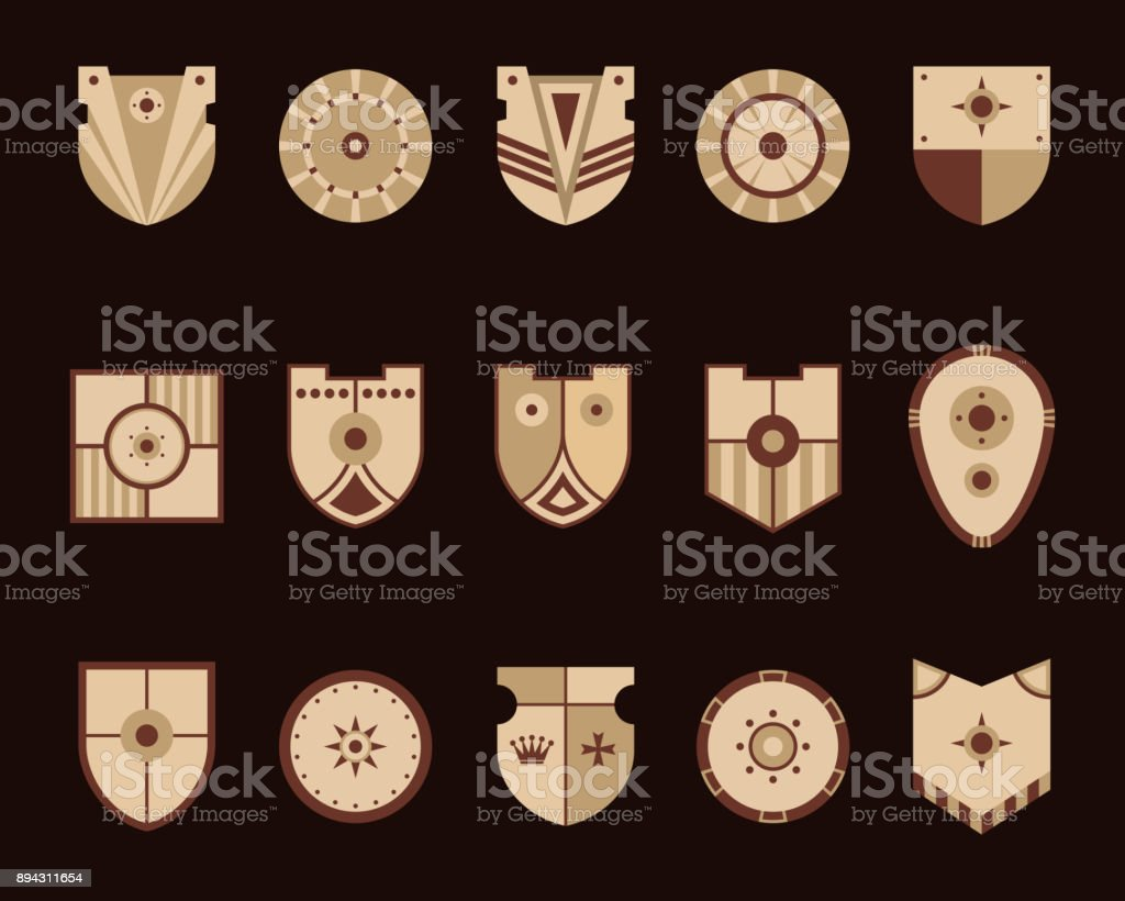 Shields icons set. Vector illustration.