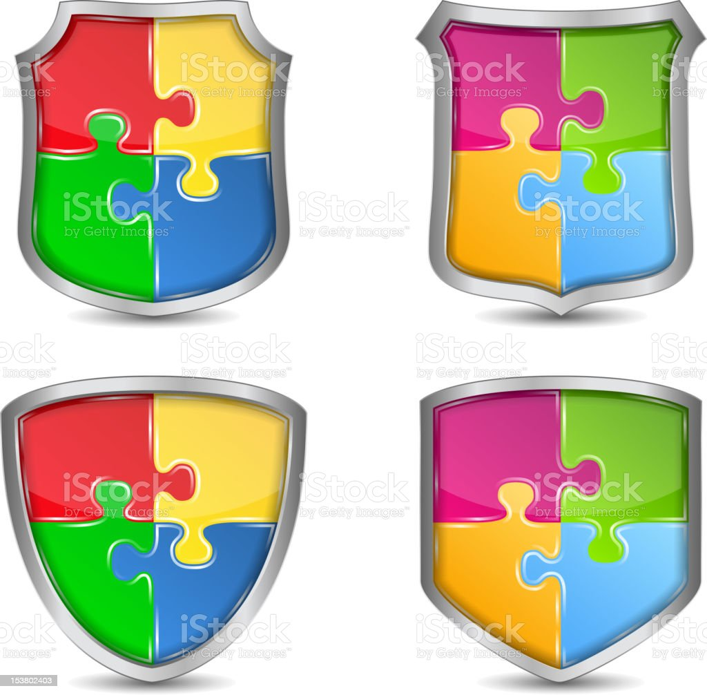 Shields with puzzle pieces royalty-free shields with puzzle pieces stock vector art & more images of antivirus software