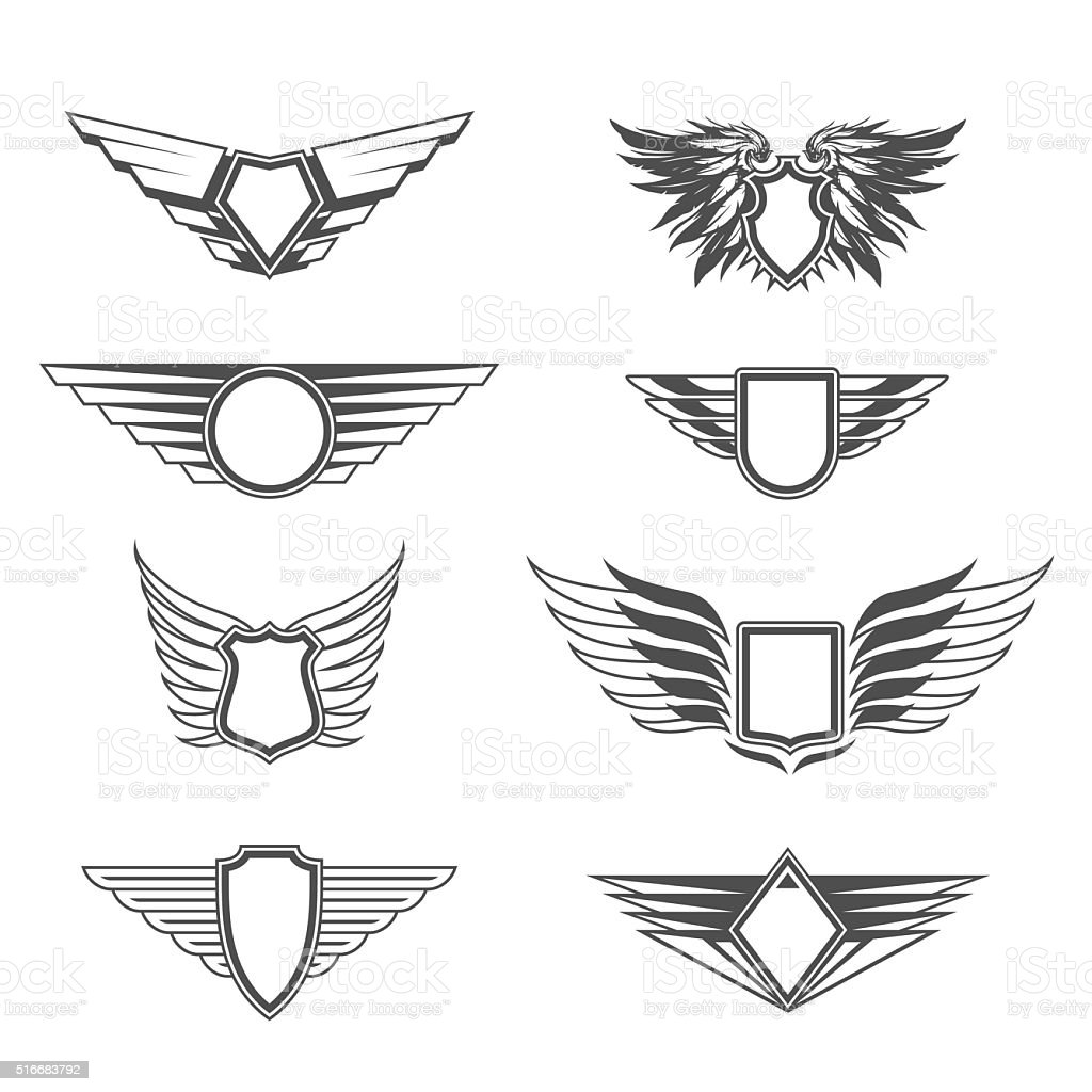 Shields With Wings Templates stock vector art 516683792 | iStock