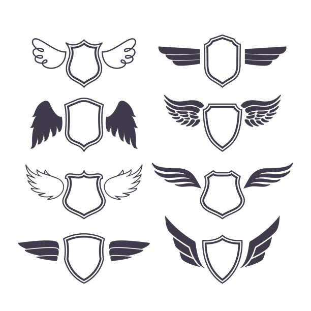 shields mit flügeln - schutzengel stock-grafiken, -clipart, -cartoons und -symbole