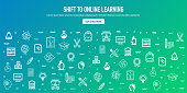 Shift to Online Learning Outline Style Web Banner Design