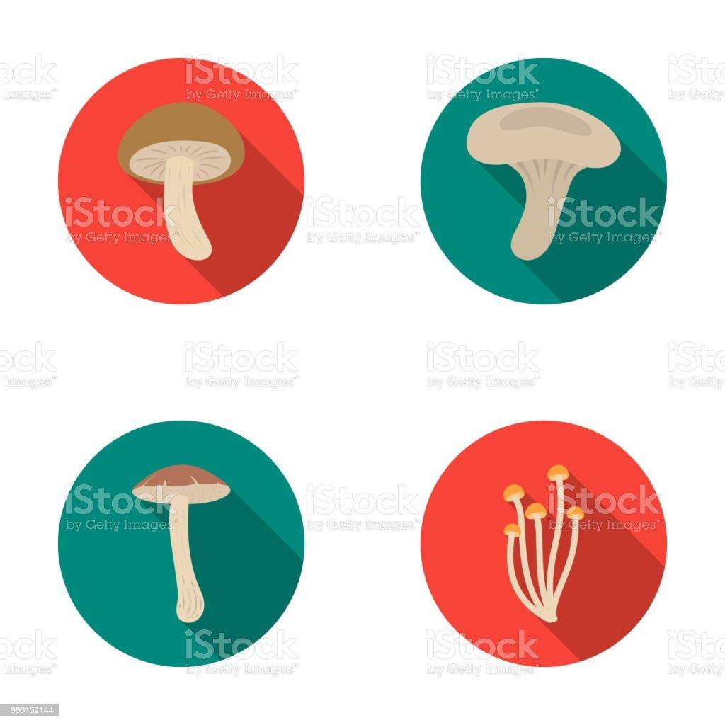 Shiitake bruin GLB bronskleurig, enokitake, melk. collectie iconen in vlakke stijl vector symbool stock illustratie web instellen - Royalty-free Bruin vectorkunst