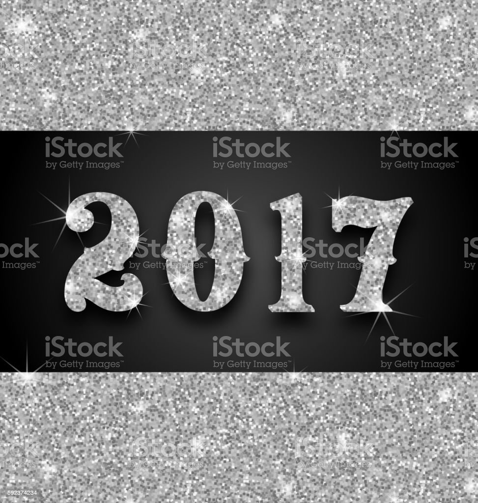 Shimmering Background with Silver Dust for Happy New Year 2017 vector art illustration