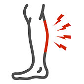 Shin hurts line icon, Body pain concept, Shin pain sign on white background, leg injured in shin area icon in outline style for mobile concept and web design. Vector graphics