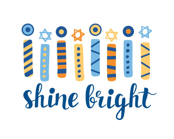 Shine Bright. Hanukkah greeting card with creative hand drawn menorah candles an unique lettering Shine Bright. Hanukkah greeting card with creative hand drawn menorah candles an unique lettering. Jewish holiday Vector illustration star of david stock illustrations