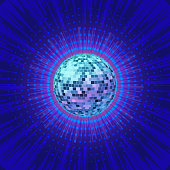 shine disco ball in blue background