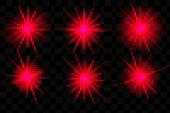 Shine light effects, vector red sparkles and glow with lens flares on transparent background. Shiny star burst and sun beams or rays with sparkles, glare flashes and glowing stripes