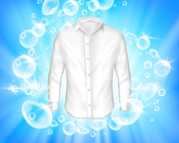shine white shirt surrounded by soap bubbles - bleach stock illustrations