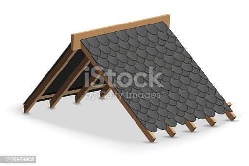 Black Shingles roofing Cover on Roof. Element concept for building construction and repair. Vector Illustration isolated on white background.