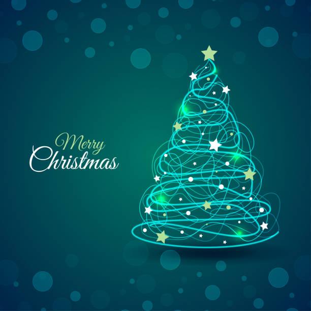 빛나는 추상적 인 크리스마스 트리 장식 - 관상용 식물 stock illustrations