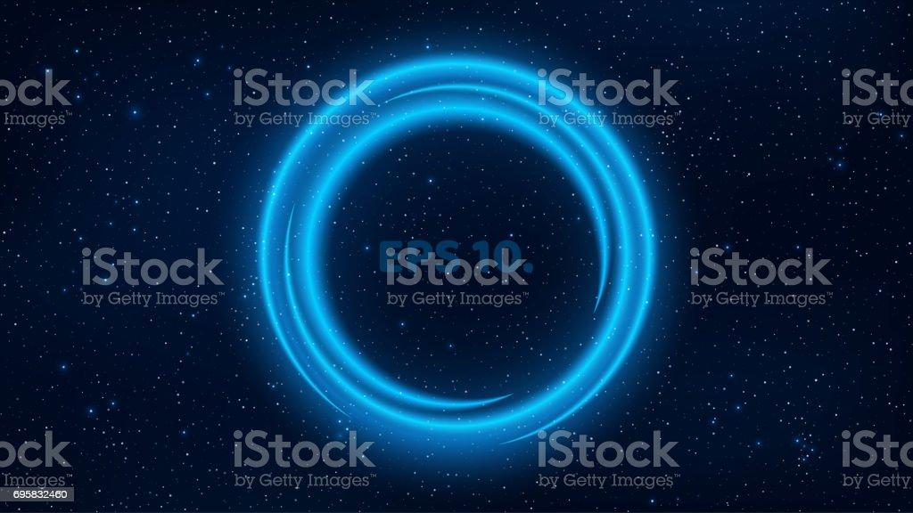 ein leuchtendes banner mit neon linien der blauen farbe vor dem hintergrund des sternenhimmels - Fantastisch Welche Farbe In Welchem Raum