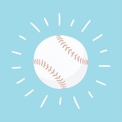 Shining baseball ball. Sport card. Hand drawn vector illustration