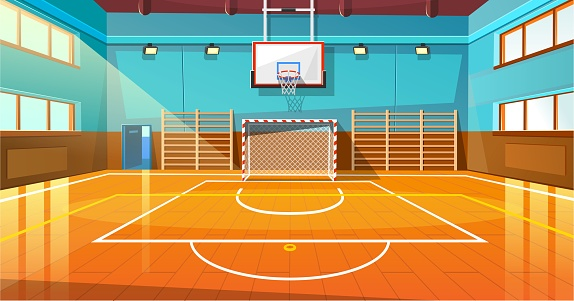 Shining basketball court with wooden floor illustration