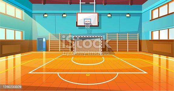 istock Shining basketball court with wooden floor illustration 1250233329