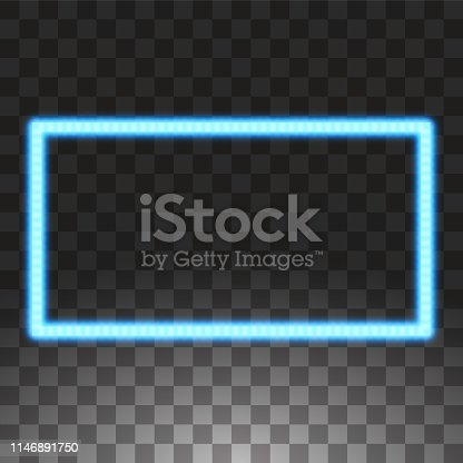 Shining blue led vector rectangle frames, neon illumination on transparent background. Glowing decorative rectangle tapes of diode ecological lamps light effect for banners, web-sites.