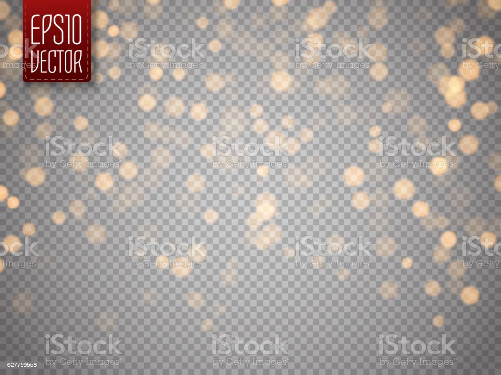 Shining bokeh isolated on transparent background. Christmas concept
