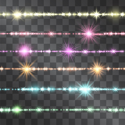 Shining border of colorful glittering sparkles on transparent background. Glowing seamless decorative vector stripes for banners, posters. Festive magical jewelry line, horizontal garland.
