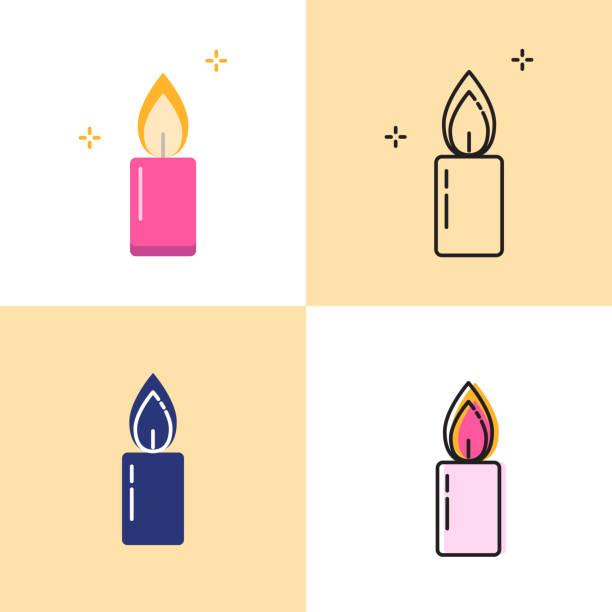 ilustraciones, imágenes clip art, dibujos animados e iconos de stock de icono de vela brillante establecido en estilos planos y de línea - adviento