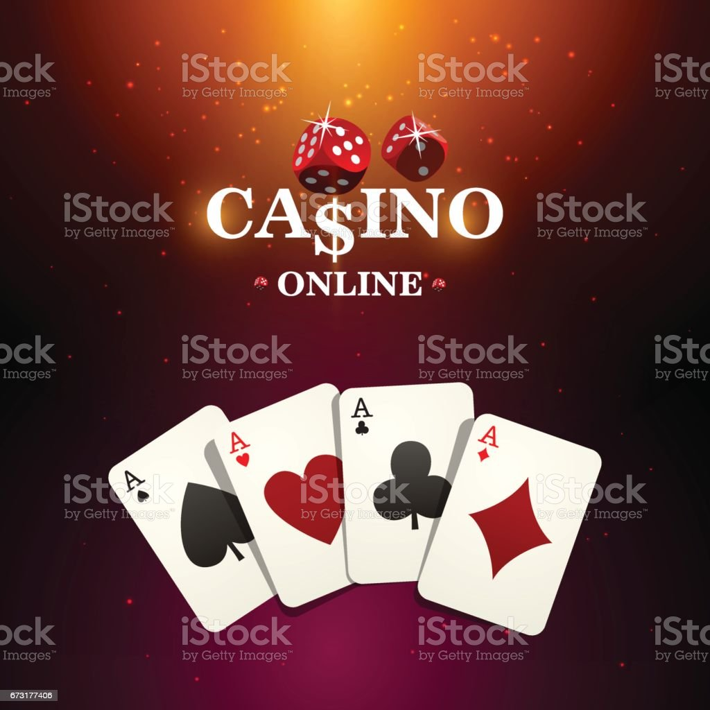 Shining casino banner. Spotlight poker design with playing cards. Casino poster vector art illustration