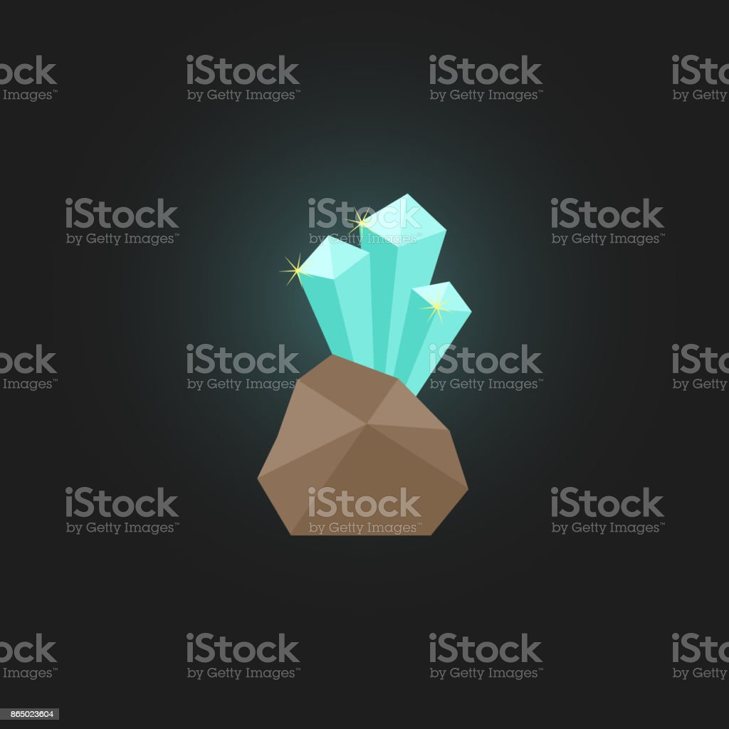 shining crystal with stone vector art illustration