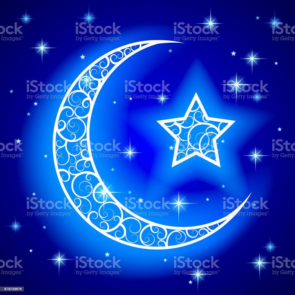 Shining decorative half moon with star on blue night starry sky background vector art illustration