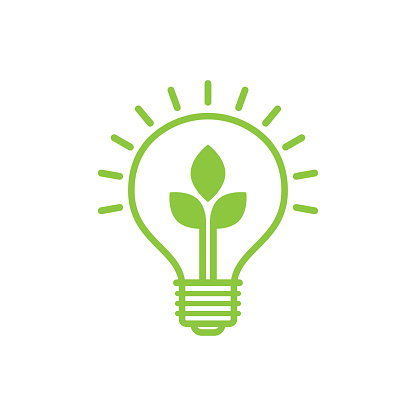 Shining electric light bulb with green leaf. Eco friendly concept. World environment day. Vector illustration
