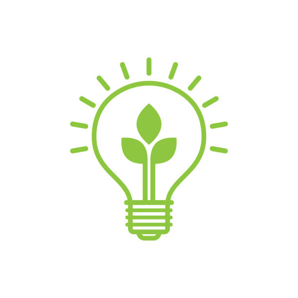 shining electric light bulb with green leaf. - sustainability stock illustrations