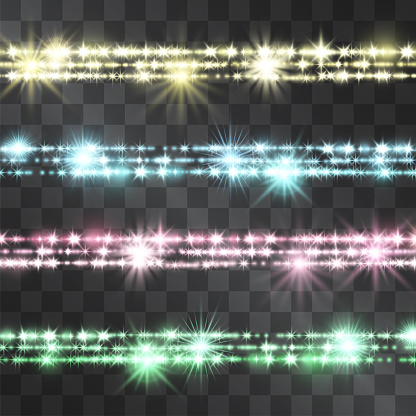 Shining glitter belt border of colorful sparkles on transparent background. Glowing decorative vector stripes for banners, posters. Festive magical jewelry line, horizontal garland.