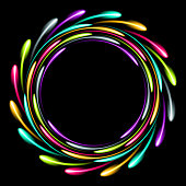 Shining glowing neon ring. Abstract background with a luminous effect. Vector illustration.