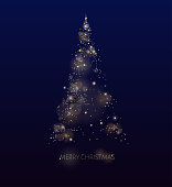 Shining gold Christmas tree. Glow dotted on black background. Vector.